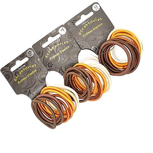 36 x épais Marron Tonal satiné sans fin/Snag gratuit élastiques pour cheveux/élastiques à/élastiques