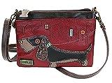 Chala Weiner Dog Mini Crossbody Handbag Dog Lovers Convertible Straps Dachshund Mom (Burgundy)