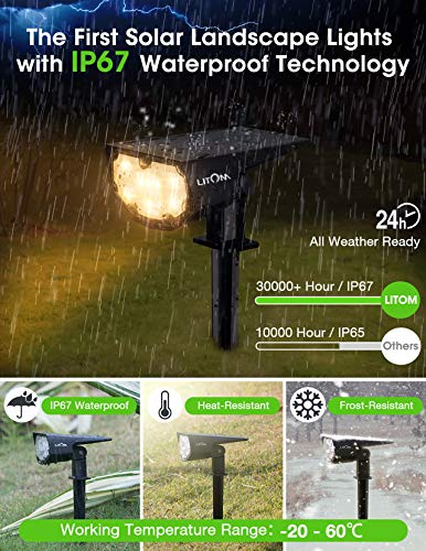 LITOM 12 LEDs Solar Landscape Spotlights, IP67 Waterproof Solar Powered Wall Lights 2-in-1 Wireless Outdoor Solar Landscaping Lights for Yard Garden Driveway Porch Walkway Pool Patio 2 Pack Warm White