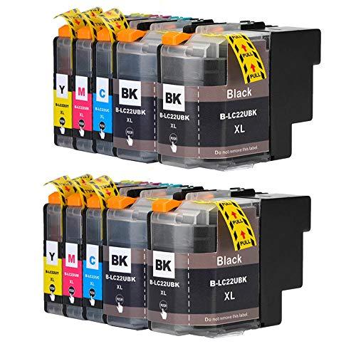 Hohe Kapazität Ersatz für Druckerpatronen Brother LC22U XL mit Späne kompatibel mit Drucker Brother DCP-J785DW MFC-J985DW (MFC-J985DW, 4Schwarz,2Cyan,2Magenta,2Gelb)