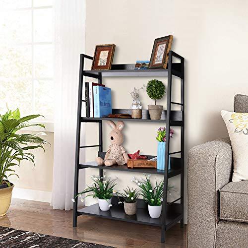 Nakey Bücherregal,eckregal schwarz wandregal Holz Metall Regal 4 Fächer für Wohnzimmer küchenregal Badezimmer Bücher Schuhe 70x35x117cm