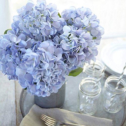 Frmarche Künstliche Blumen Künstlicher Hortensie Seide Blumen in Vasen für Hochzeit Dekor Home Garten Party 2PCS (Blau)