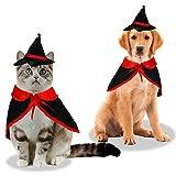 KATELUO Costume pour Chat, Déguisements pour Chiens Costumes Halloween Chien Chat Vêtements Cosplay, Costume d'halloween pour Animaux de Compagnie Vampire Cape Wizard Chapeau pour Vacances Cadeaux de