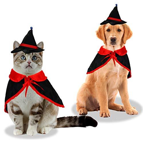 KATELUO Capa de Mascota para Halloween, Apto para Halloween Gato y decoración de Perro, Disfraz de Vampiro de Halloween de Sombrero de Mago de Capa de Vampiro para Fiesta, Disfraz de Mascota