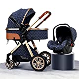 3-in-1 Baby Stroller Carriage Foldable Luxury Folding Stroller Shock-Absorbing Spring high-View Stroller with Mummy Bag and rain Cover (Blue 1)