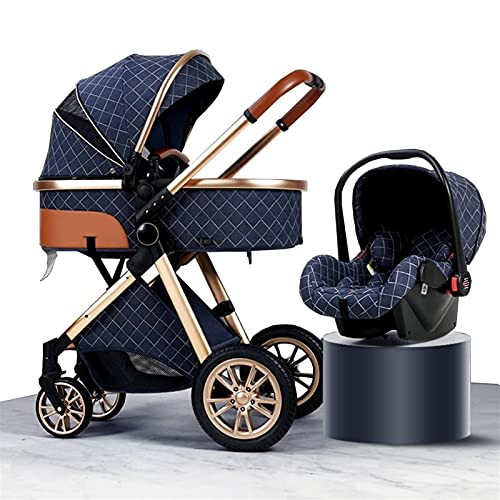 3-in-1 Baby Stroller Carriage Foldable Luxury Folding Stroller Shock-Absorbing Spring high-View Stroller with Mummy Bag and rain Cover