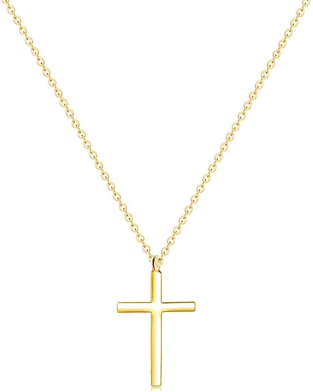 MOMOL Tiny 2021 model Cross Houston Mall Pendant Necklace Stainless Gold Ste 18K Plated