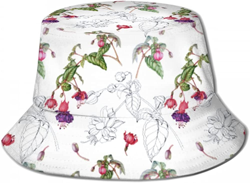 Sun Cap Pattern excellence Twigs Flowers Fuchsia for Bucket Challenge the lowest price of Japan W Men Hat