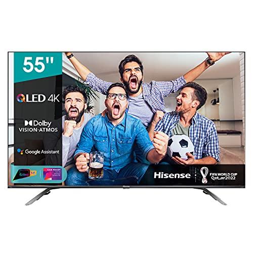 Hisense 55' QLED 4K 2021 55E78GQ, Quantum Dot, Smart TV VIDAA 5.0, HDR Dolby Vision, Audio Dolby Atmos, Controlli vocali Alexa / Google Assistant, Tuner DVB-T2/S2 HEVC 10, lativù 4K
