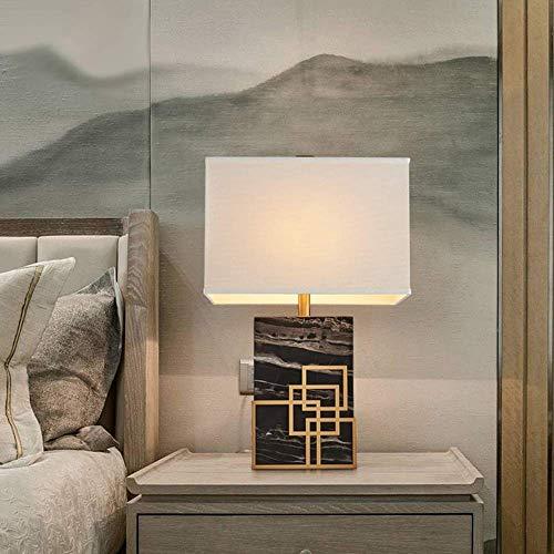 WSJTT Lámpara de Escritorio Lámpara de Mesa LED de mármol de Lujo Moderno lámpara de Tela lámpara Creativa Sala de Estar Estudio Dormitorio Hotel Club decoración lámpara 40 * 23 * 65 cm (Color:Negro)