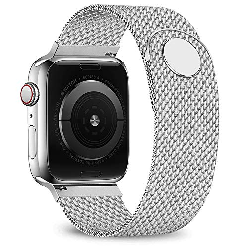 jwacct Compatible for Apple Watch Band 42mm 44mm, Adjustable Stainless Steel Mesh Wristband Sport Loop for iWatch Series 5 4 3 2 1,Silver