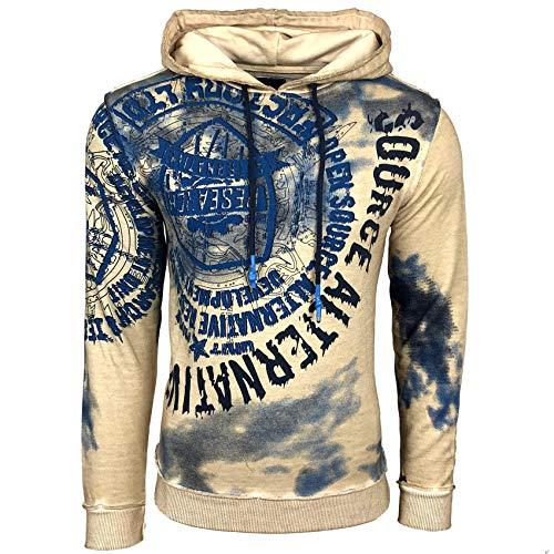 Rusty Neal Herren Sweatshirt Batik Hoody Verwaschen Oil Washed Used Kapuzenpullover 125, Größe:2XL, Farbe:Beige