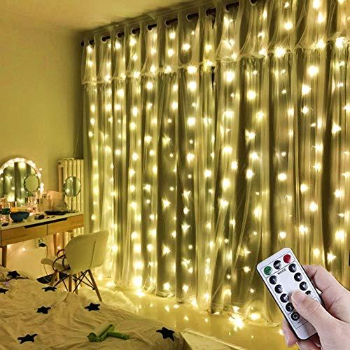 LED Lichtervorhang 3x3m IP65 Wasserfest 300 LEDs USB Lichterkettenvorhang mit 8 Lichtmodelle für Wohnzimmer innen Haus Schlafzimme Party Weihnachten Hochzeit Geburtstag Garten Fenster (Warmweiß)