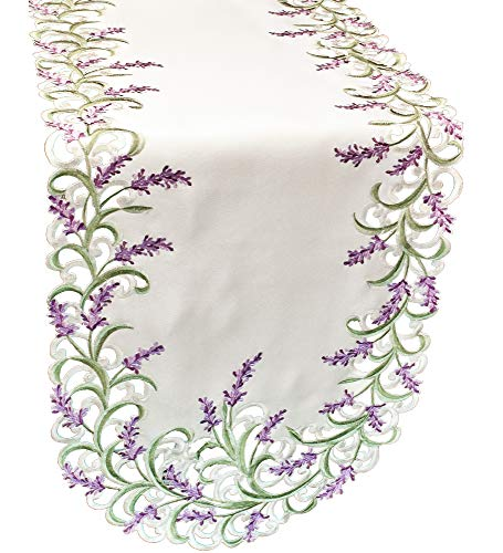 Linens, Art and Things Embroidered Purple Embroidered Lavender Lilac Table Runner 16 X 70 Inch