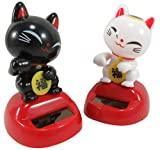 Daiso Japan Cute Solar Powered Dancing Lucky Cats Desk and Dashboard Décor 3.1 x 2 Inches Black White Red (2 Piece Set)