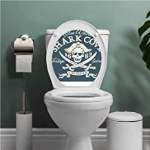 SCOCICI1588 Pirate Queen Size Indoor Water Proof Vinyl Shark Cove Tortuga Island Caribbean Waters Retro Jolly Roger Environmental Protection and Waterproof Slate Blue White Light Mustard W13XL13 INCH