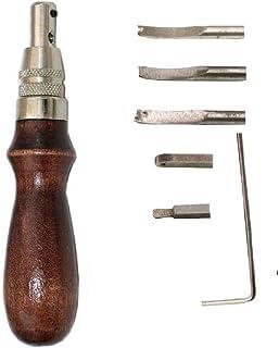 7 pièces en cuir artisanat bord couture Groover Skiving Edger, pli en cuir poinçon couture bricolage Kit d'outils, maroqui...