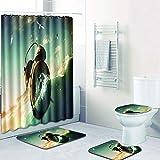 WANJIA Rutschfestes Badezimmer-Set, Duschvorhang + Badematte + U-förmige Badematte + WC-Abdeckung 4 Kombinationen+12 Haken für Duschvorhänge. 50 * 80cm W180514-D049