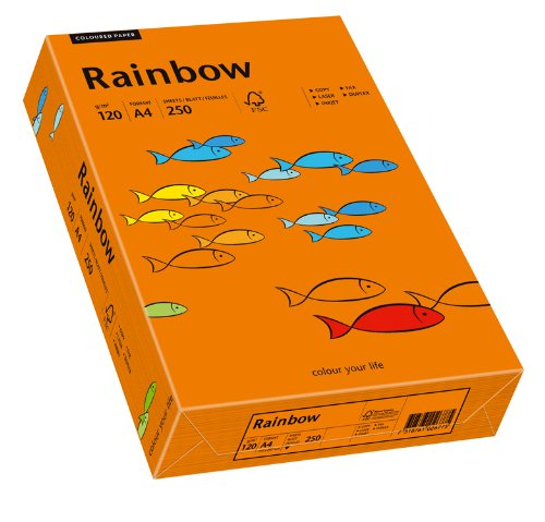 Papyrus 8800 37365- Multifunktionspapier Rainbow Coloured Paper A4 120 g/qm, 250 Blatt, intensivorange
