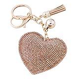 Soleebee Portachiavi in pelle cuore d'amore Bling Cristallo Portachiavi auto Fascino accessori per borse e Personalizzare Zaino con le nappe (Champagne)