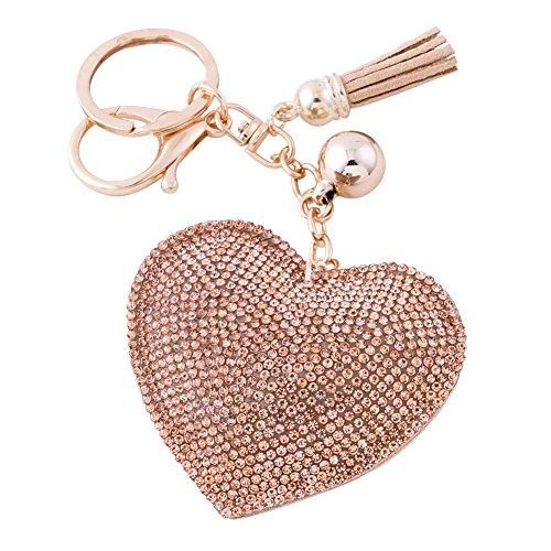 Soleebee Llavero de Cuero del Corazón del Amor Encanto de la Bolsa del Coche Cristalino con Borlas Cadena de Clave (Champán)