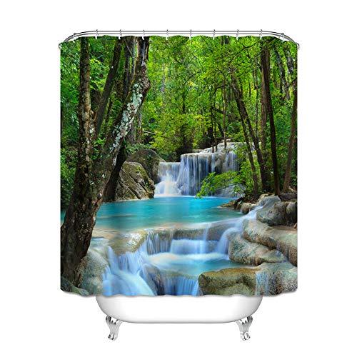 Ciujoy Landscape Shower Curtain 180x180cm Waterproof Mould Proof Resistant 3D Digital Printed Bathroom Curtain Washable Bath Curtain Polyester Fabric with 12 Hooks - Landscape