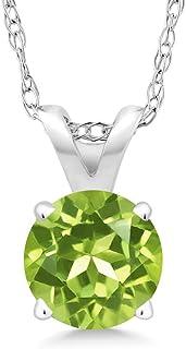 2.0 ct Heart VVS1 Green Natural Peridot VVS1 Designer Pendant Necklace Gift 16 Gift BoxChain box Solid 14k White gold