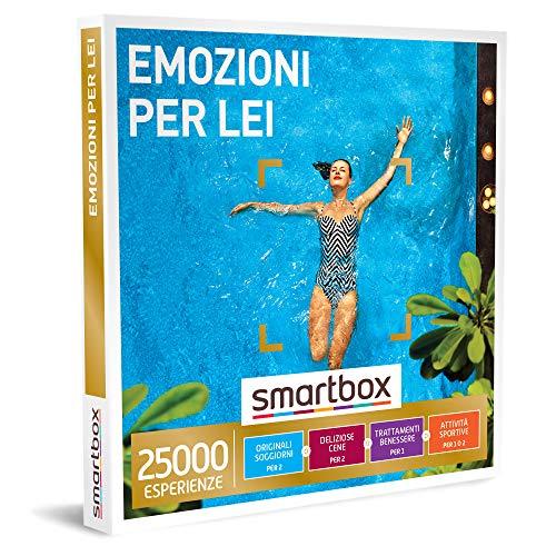 smartbox - Cofanetto Regalo per Donna - Emozioni per lei - Idee Regalo Originale per lei - Soggiorni, cene, Pause Benessere o attività Sportive per 1 o 2 Persone