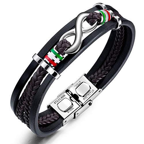 ZHWM Schmuck Armband Armschmuck Armbänder Vintage Endless Love Edelstahl Armbänder Unendlichkeit Pu Armband Für Männer Frauen Seil Armreif Geschenk