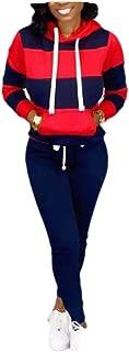 Macondoo Womens Stretchy Sweatshirt 2 Pieces Pants Sport Tracksuit Set