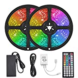 Led Strip Lights, 10 Meter Led Light Strip Led 600 SMD 5050 IP65 Waterproof RGB Flexible Light Strip Kit with 44 Key IR Remote RGB Controller, Strengthen Tape, 12V 5APower Supply