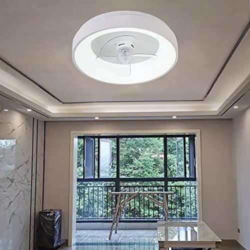 YUNLONG Ventilador Techo con Luz Y Mando, 3 Velocidades Dormitorio LED Regulable Lamparas Ventilador De Techo con Temporizador Moderno Sala Silencioso Ventilador Techo con Luz,Blanco