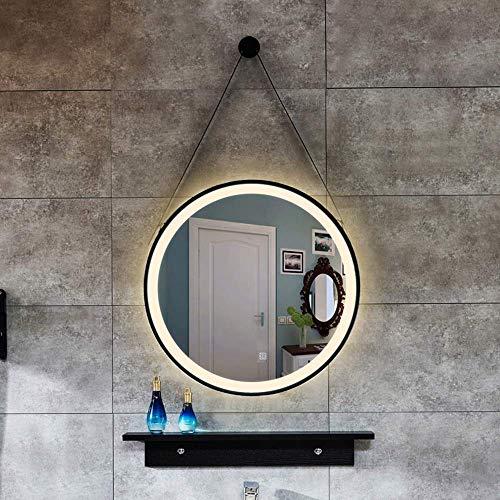 BDD Espejo Que Cuelga la Cuerda Redonda Arte Del Hierro Lámpara Led Tocador Colgante de Pared Baño Lámpara de Baño Inteligente,Luz Calida,70Cm
