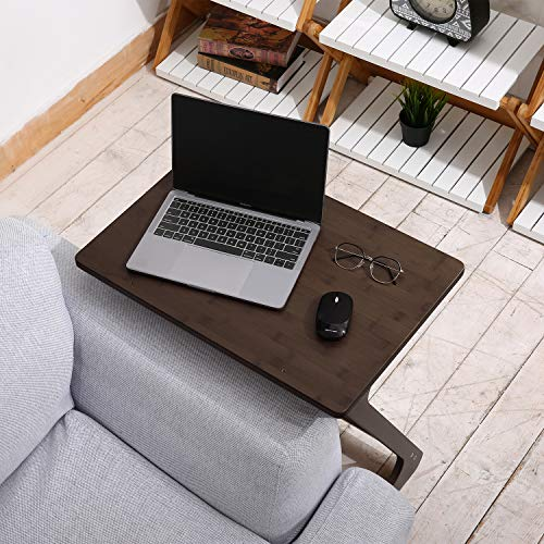 Large Size Sofa Table TV Tray Super Top Laptop Desk Removable End Table for Bed Sofa Eating Writing Reading Living Room-Walnut