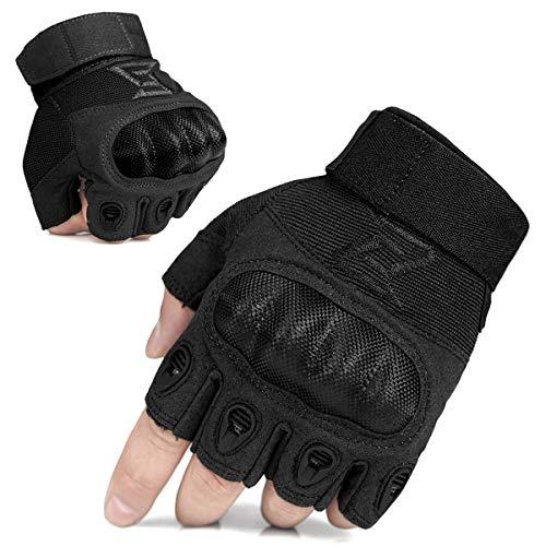 FREE SOLDIER Sport Handschuhe Herren Taktische Trainings Motorradhandschuhe Kletter Tactical Handschuhe Fingerlose Halbfinger Handschuhe geeignet für Wandern Klettern Fahradfahren usw(M,Schwarz