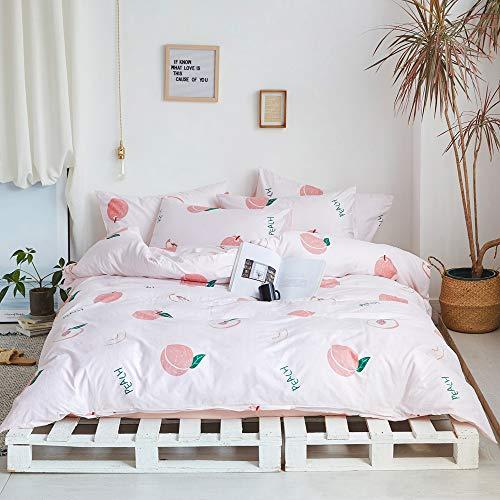 Fruits Queen - Juego de ropa de cama para niñas, funda de edredón con cremallera oculta, algodón de primera calidad, para...