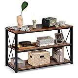charaHOME 47''Console Sofa Table Industrial Console Table & TV Stand 3-Tier Rustic Console Entryway/Hallway Table with Storage for Living Room, Open Bookshelf in Bedroom Entryway,Brown Oak