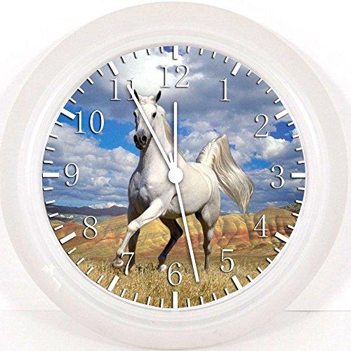 NEW cheval blanc horloge murale 25,4 cm joli cadeau et de Chambre Décoration murale 47