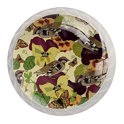 Pomos de cristal para gabinetes de cocina, tiradores de cajones de 1,18 pulgadas, diseño vintage de flores campiña, pájaros (paquete de 4)