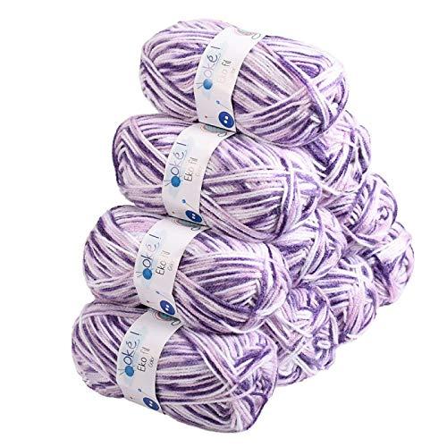 Laines Oké, EKOFIL COLOR - Lot 10 pelotes de laine 50g - 100% acrylique. Fil à tricoter idéal pour le tricot hiver et bébé