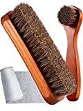 Youngjoy 6 Pieces Horsehair Shine Shoes Brush kit Polish Dauber Applicators, Brown, 7.4 x 4.3 x 2.2 inches