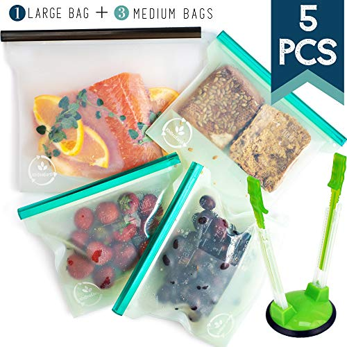 KhoraEarth Reusable Silicone Food Storage Bags  EcoFriendly Lunch and Snack Bag for Sandwich Produce Fruit  Large Lock Tabs for Airtight Sealing  Dishwasher Freezer Boiling and MicrowaveSafe