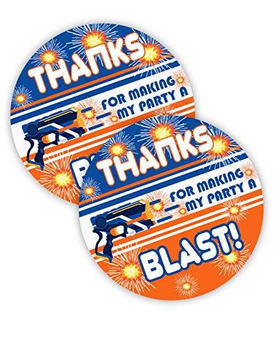 POP parties Dart Gun Party Favor Stickers - 40 Favor Bag Stickers - Dart War Party Favor Tags - Dart War Party Decorations