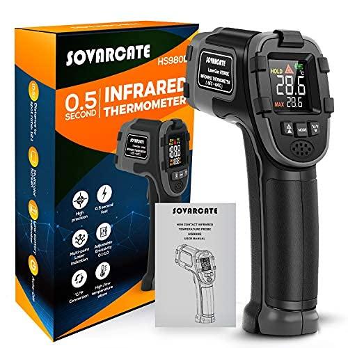 Termómetro Infrarrojo SOVARCATE Pistola de Temperatura Laser Infrarroja Fácil de Usar 58℉~1112℉ (-50℃~600℃) Emisividad Ajustable y Gran Pantalla LED Termómetro Láser de Cocina con Función de Alerta