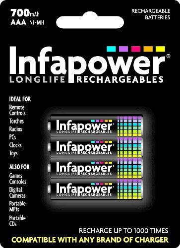 Infapower 4 piles rechargeables AA/LR6 650 mAh (Import Royaume Uni)