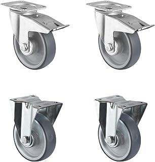 CASCOO SETTBFB100P2V2R1W wielenset 2 zwenkwielen met vastzetter, 2 bokwielen, polypropyleen, rubber, diameter 100 mm, roll...