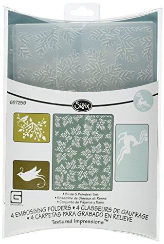 Sizzix Textured Impressions–Carpetas para Estampados 4pk–pájaros y Reno Set por BasicGrey