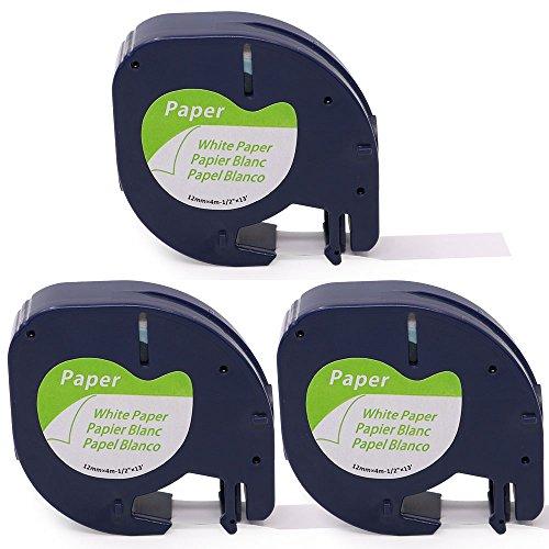 Oozmas kompatible Etikettenband als Ersatz für Dymo Letratag XR Baender Paper White 91220 12mm x 4m, Schwarz auf Weiß, Etiketten kompatible für LT-100H LT-100T XR QX50, 3er-Pack