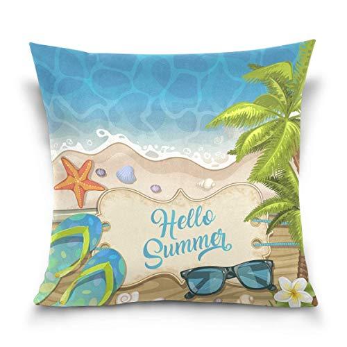 Asekngvo Throw Pillow Cover 18x18 Inch, Summer Beach Starfish Flip Flop Fundas de Almohada Decorativas Funda de cojín para sofá Sofá Cama Hogar
