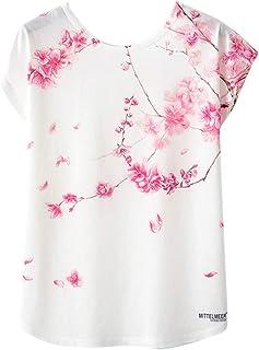 Toamen Womens Summer Novelty T Shirt Sale Basic Casual Kawaii Geometric Animal Print Short Sleeve Loose Tee Shirt Blouse Tops